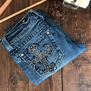 Miss Me Cross Embellished Pockets